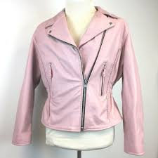details about xl pink leather er moto jacket womens