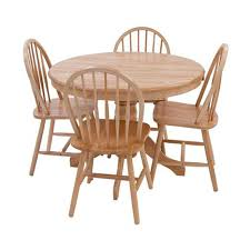 york round oak dining table and four dining chairs