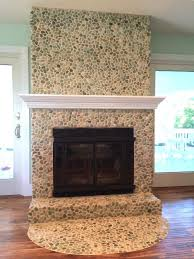 sea green pebble tile fireplace surround hearth
