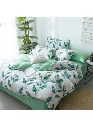 4 piece leaves design duvet cover sets cotton white green single
