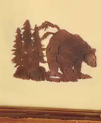 metal cut bear silhouette wall art wildlife cabin lodge rustic home decor