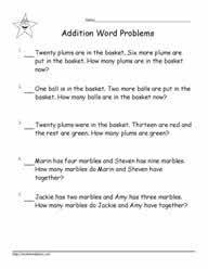 Students are asked to combine and / or compare (longer, shorter, taller, etc.) different lengths. Grade 1 Word Problems Worksheets
