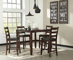 Ashley Furniture Kitchen Sets Ashley Furniture Coviar Burnished Brown 5 Pc Counter Height Table
