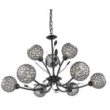 bellis ii black chrome 9 light ceiling fitting with clear glass shades