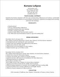 Resume Templates: School Library Assistant