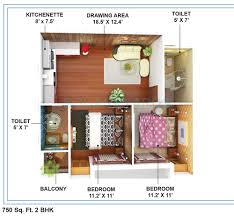 Captivating 2 BHK 750 Sq. Ft. Apartment Floor Plan