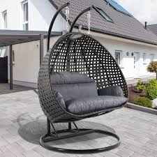 heavy duty 2person outdoor rattan wicker porch swing hanging chair cover latte extra large