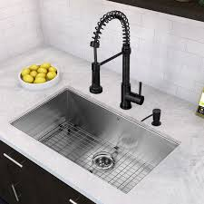 32 inch undermount single bowl 16 gauge stainless steel kitchen sink with edison matte black faucet
