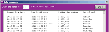 a program to convert julian gregorian and dee calendar dates dee date sequence