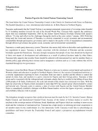 First paragraph your rst paragraph should give general introduction on your country and a few examples on how the topic of the committee session affects your country. Position Paper Sample Sovereign State United Nations