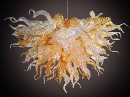 custom made golden topaz custom glass chandeliers hand blown glass art