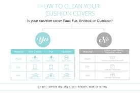 flow diagram explaining how to clean cushion covers from simply cushions