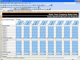profit and loss excel spreadsheet profit loss projection profit loss projection template