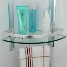 kes bathroom tier corner glass shelf with wide rail and towel bar hanger aluminum frame cabinets for living room bookshelf unit reclaimed wood floating