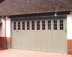 rundum side sectional timber door with windows in factory paint finish