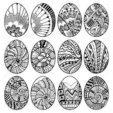 Hand Drawn Easter Eggs Set For Coloring Book For Adult And Design