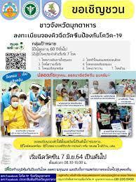 ขอเชิญชวนชาวจังหวัดมุกดาหารลงทะเบียนฉีดวัคซีนป้องกันโควิด-19 โดยจะเริ่ม ฉีดวัคซีน ตั้งเเต่วันที่ 7 มิถุนายน 2564 เป็นต้นไป  องค์การบริหารส่วนตำบลบ้านค้อ อำเภอคำชะอี จังหวัดมุกดาหาร