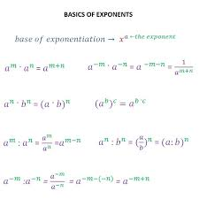Exponents - addition, subtraction, multiplication and division