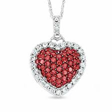 lab created ruby and white sapphire puffy heart pendant in 10k white gold with diamond accent
