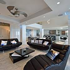 black ceiling fan in room. black and white modern living room with ceiling fan in