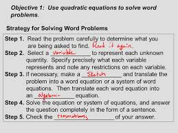objective 1 use quadratic equations to solve word problems