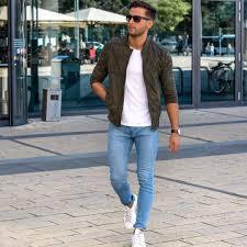 Light Blue Jeans Men S Style Die Sneakers Lightblue Jeans White T Shirt Jackets