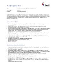 Electrician Job Description For Resume Electrician Job Duties Savebtsaco 16