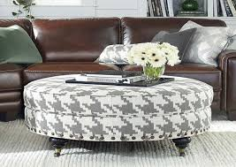 Furniture: Elegant Seating White Round Fabric Ottoman Coffee Table  Upholstered As Coffee Table Sets And