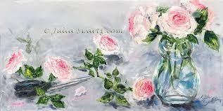 cut roses flower oil painting