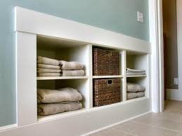 built ins and baskets for pretty bathroom storage