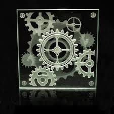 steampunk decorative glass coaster etched gears in a 3d coffee custom etched glass coasters