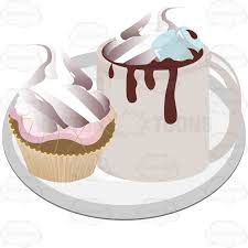 hot chocolate with whipped cream clip art.  Art Cup Of Hot Cocoa With Whipped Cream And A Cake On Plate Chocolate Clip Art