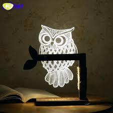contemporary owl table lamp acrylic owl lamp creative cute owl wooden base decor bedside table lamp contemporary owl table lamp