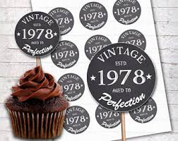 40th Cupcake Toppers Etsy