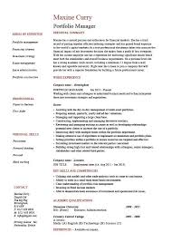 Portfolio manager resume, investments, CV, job description, example, sample,  funds