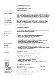 Portfolio Manager Resume Investments Cv Job Description Example