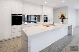 Polished Concrete Floor Kitchen White Gloss Cabinets Marble Island Bench Smoked Mirror
