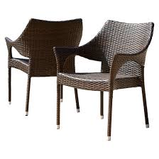 Cliff Set of 2 Wicker Patio Chairs Multi Brown Christopher