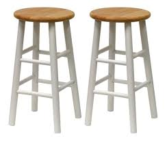 Amazon.com: Winsome Wood S/2 Beveled Seat 24-Inch Counter Stools, Nat/Wht:  Kitchen & Dining