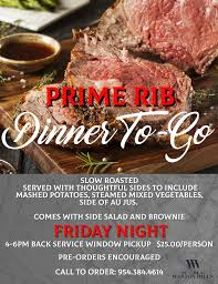 For christmas dinner, y husband will be making a beef rib roast with popovers. Prime Rib To Go Night The Club At Weston Hills 2020 03 27