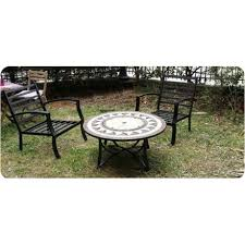 living room of garden round coffee table 4 chairs filaie aspect iron wrought and mosaic