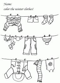 Small Picture Clothes Coloring Page Winter Seasons Kindergarten And Preschool
