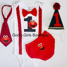 Sesame Street Elmo 1st Birthday Outfit Smash Cake Party Bow Etsy