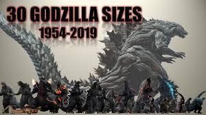 Godzilla Chart Godzilla Size Comparison 1954 2019 30 Godzillas