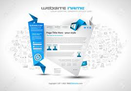 Infographic Website Template Modern Style Origami Web Template Design With Infographic Design