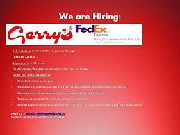 Fedex Jobs Gorgeous ITNetworking Jobs In Gerry's FedEx Gulf Job Hunt UAE Saudi