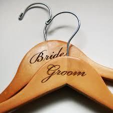 Bride Groom Wedding Hangers Engraved Wood