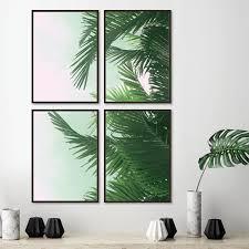 palm tree canvas poster print wall art set of 4  on palm tree wall art set with palm tree canvas poster print wall art set of 4 fab mix home
