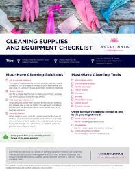 Domestic Cleaning Price List Cleaning Supply Checklist For Your Home Molly Maid Cleaning