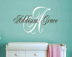 green initial and personalized name wall art vinyl decal baby nursery wall art girl or boy on personalized wall art names with wall art lastest ideas personalized name wall art personalized name